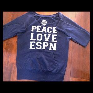 Peace, Love, ESPN Unhooded Sweatshirt - like new